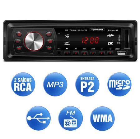 Mp3 Player Automotivo Roadstar Rs-2601br Usb Sd Radio Fm Aux