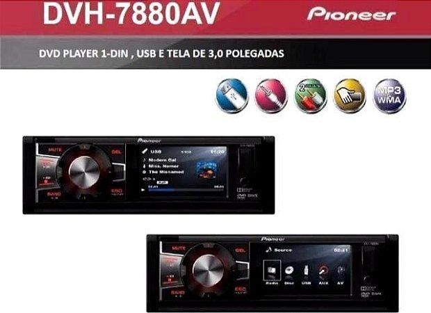 Pioneer DVH-7880AV 1 Din 3 Pol USB AUX MP3 CD WMA AM FM RCA Controle