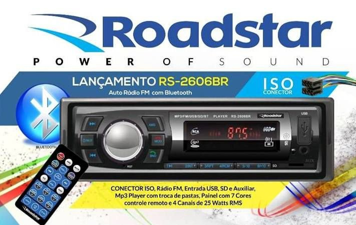Mp3 Player Automotivo Roadstar Rs-2606br Usb Sd Radio Fm Aux com Bluetooth