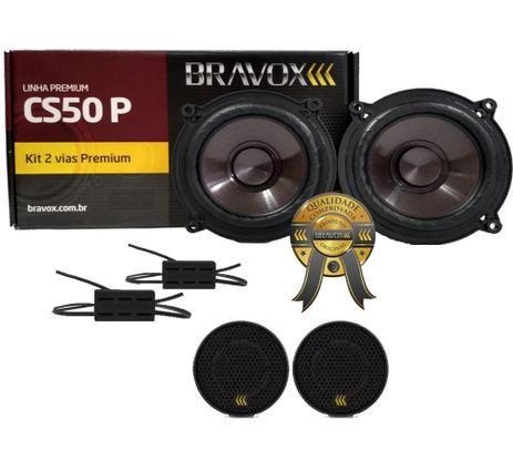 "Kit 2 Vias Bravox CS50P Alto Falantes 5"" 120W RMS 4 Ohms + 2 Tweeters"