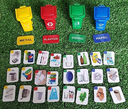 Lixeiras e flashcards para separação de lixo seco