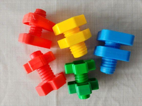Kit 5 conjuntos parafusos e porca para coordenação motora