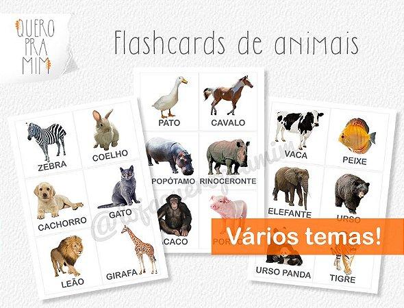 Flashcards de Animais para pareamento Montessori
