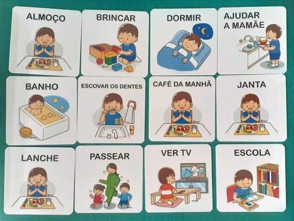 Flashcards para organização da rotina infantil