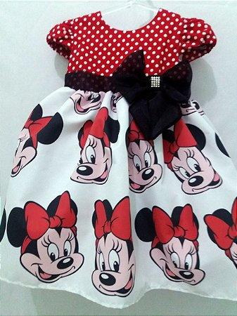 Vestido Minnie Infantil Tema Festa Aniversário Disney Tam. 01 ao 14 - Tia Gina.