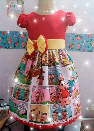 Vestido Turma Da Monica Luxo Festa Infantil Tam. 01 Ao 06 - Tia Gina.