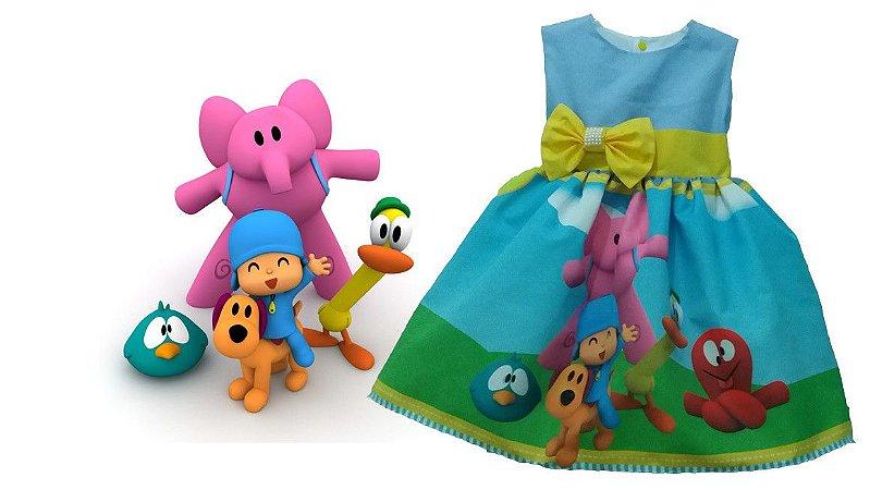 Vestido de Festa Pocoyo Infantil Tam. 01 ao 14 - Tia Gina.