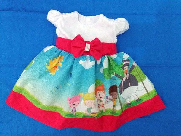 Vestido Infantil Bita Brincadeira Vestido Festa Tia Gina Tam. 01 ao 14.