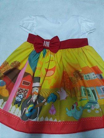 Vestido de Festa Infantil Bita Fazendinha Festa Menina Tam. 01 ao 14.