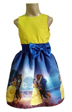 Vestido Bela E A Fera Infantil Vestido de Festa Princesas Disney Tam. 01 ao 14.