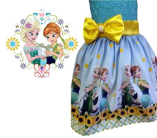 Vestido Infantil Festa Frozen Ana e Elza Tam. 01 ao 14 - Tia Gina.
