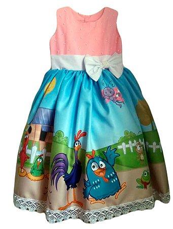 Vestido Galinha Pintadinha Infantil Luxo Menina Tam. 01 ao 06.