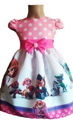 Vestido Patrulha Canina Rosa Infantil Tam. 01 Ao 14 Tia Gina.