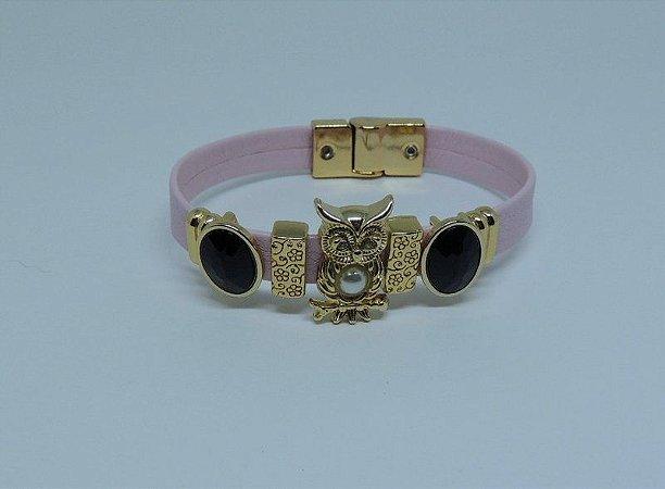 Pulseira de couro Rosa e metais dourados
