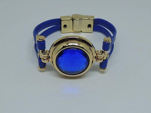 Bracelete de couro e metais dourados azulão