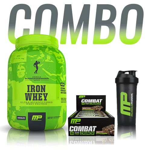COMBO: IRON WHEY CHOCOLATE + COMBAT CRUNCH CHOCOLATE PEANUT BUTTER CUP (val: 08/17) + SHAKER MUSCLEPHARM
