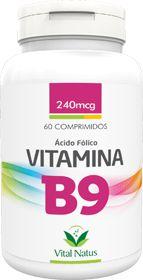 VITAMINA B9 (Ácido Fólico) 240mcg c/ 60 comprimidos - Vital Natus
