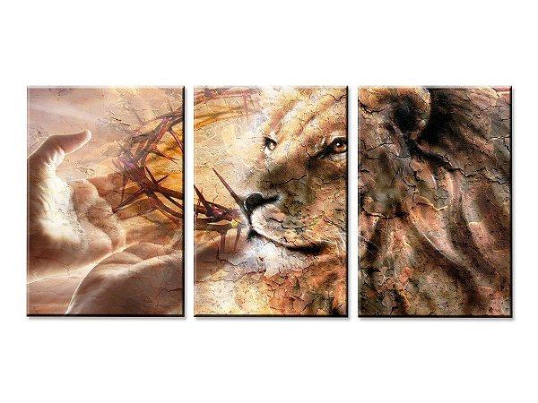 Quadro Decorativo Leão de Judá Efeito Borda Infinita 60x120 cm