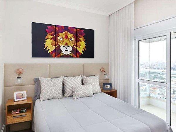 Quadro Leão de Judá Colorido Mosaico 3 Partes 60x120 cm