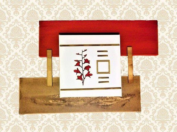 """Quadro Decorativo Tela """"H"""" Vermelho e Bege"""