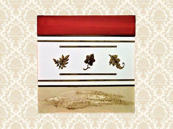 Quadro Decorativo Tela Quadrado Vermelho e Bege