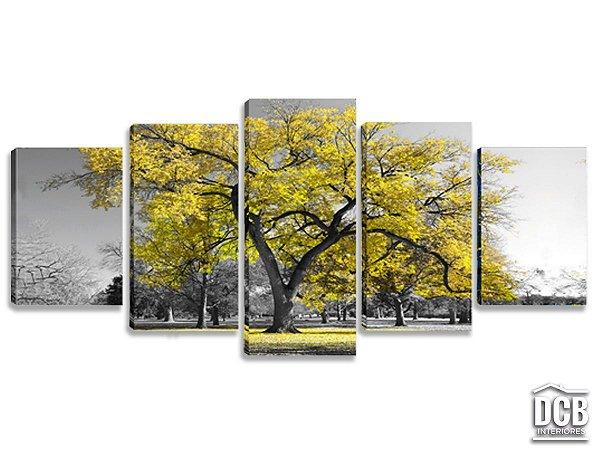 Quadros Decorativos 5 Telas Árvore Amarelo