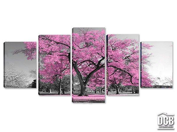 Quadros Decorativos 5 Telas Árvore Rosa