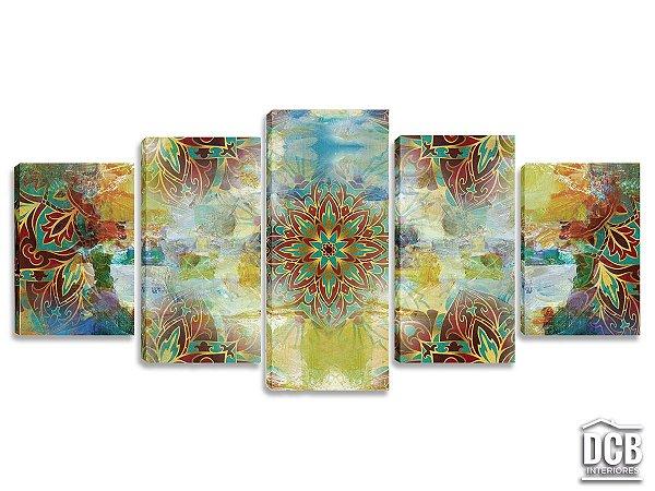 Quadros Decorativos 5 Telas Mandala Colorido