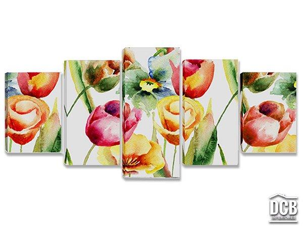 Quadros Decorativos 5 Telas Flores Coloridas