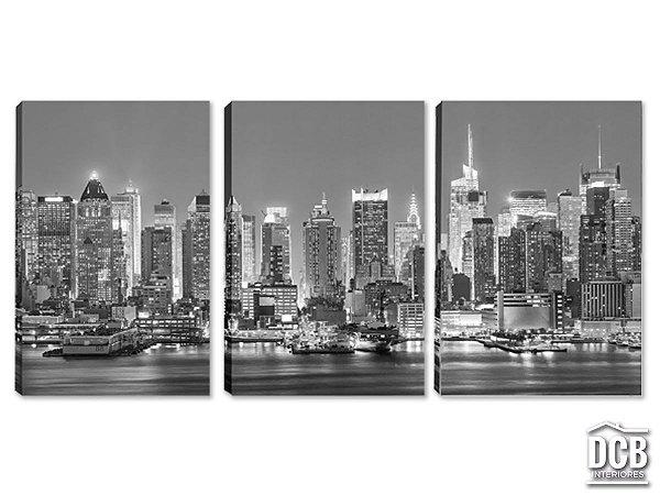 Quadro Decorativo New York Paisagem Preto e Branco 60x120 Centímetros