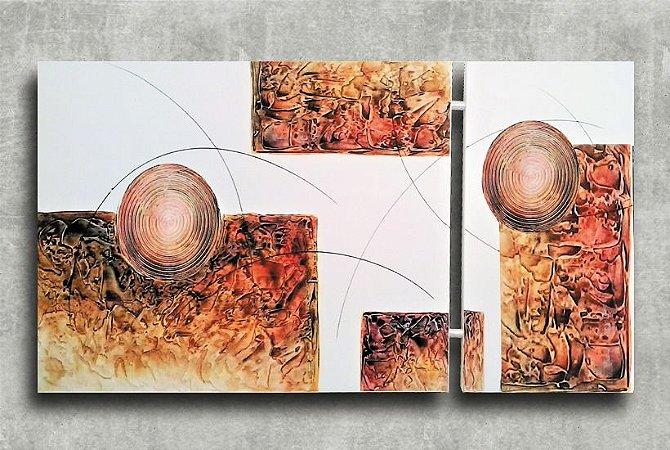 Quadro Decorativo Abstrato Duplo 60x113 QDD03