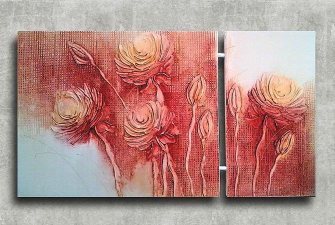 Quadro Decorativo Abstrato Duplo 60x113 QDD06