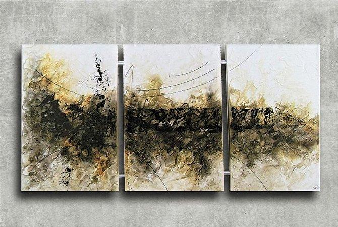 Quadro Decorativo Abstrato Triplo 60x126 QDT03