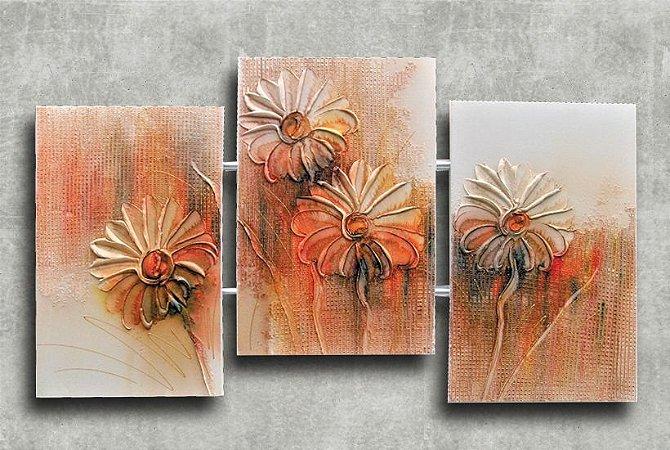Quadro Decorativo Abstrato Triplo 60x126 QDT09