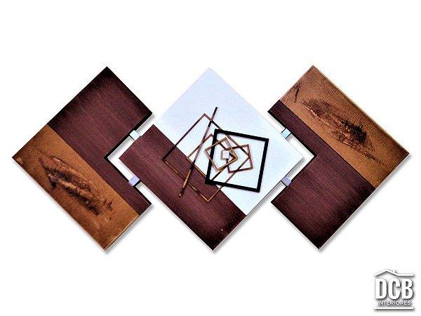 Quadro Abstrato Para Sala Marrom Pintado a Mão 60x120 Centímetros