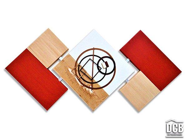 Quadro de Parede Abstrato Vermelho com Bege 60x120 Centímetros