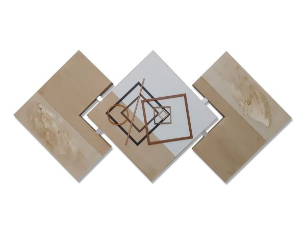Quadro Decorativo Para Sala Abstrato Bege 60x120 Centímetros