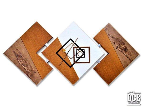 Quadro Decorativo Canvas Abstrato Artesanal Mostarda 60x120 Centímetros