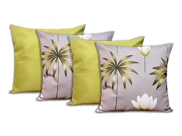 Kit 4 Capas Para Almofadas Decorativas Flores Verde
