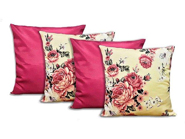 Kit 4 Capas Para Almofadas Decorativas Flores Vinho