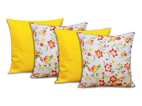 Kit 4 Capas Para Almofadas Decorativas Floral Amarelo