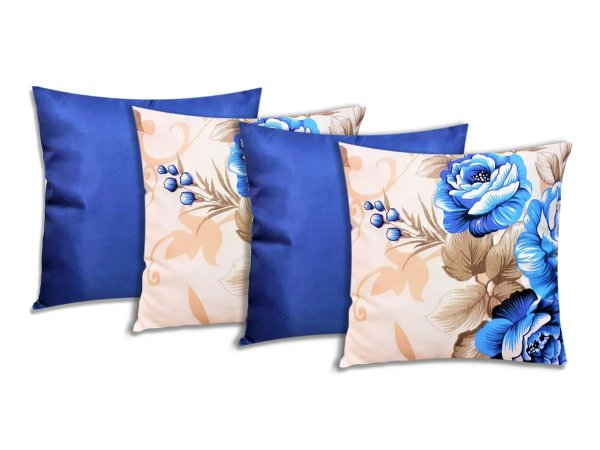 Kit 4 Capas Para Almofadas Decorativas Floral Azul