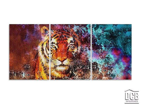Quadro Decorativo Tigre Mosaico 3 Telas 60x120 Centímetros