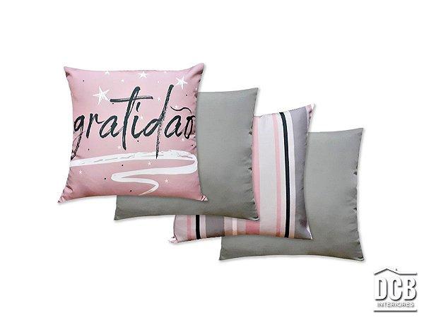 Kit 4 Almofadas Escrito Gratidão Rosa e Cinza 40x40 Centímetros