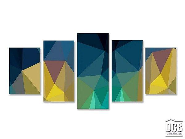 Quadro Decorativo Mosaico 5 Telas Formas Geométricas 70x162 Centímetros