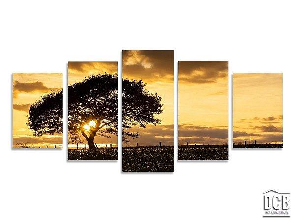 Quadro Decorativo Mosaico Paisagem Árvore 70x160 Centímetros