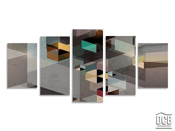 Quadro de Parede Mosaico Geométrico Abstrato Cinza 70x160 Centímetros
