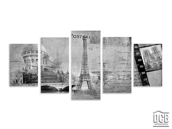Quadro Mosaico Paisagem Torre Eiffel Preto e Branco 70x160 Centímetros
