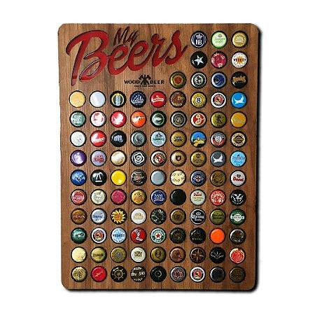 Quadro porta-tampinhas de cerveja - My Beers - 100 Espaços!