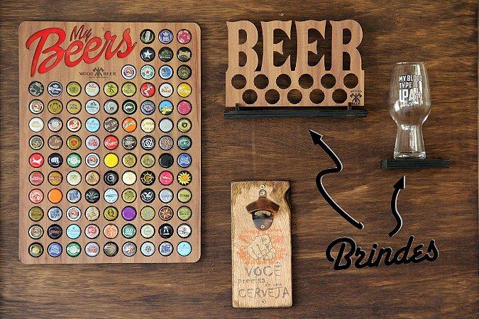 Combo Malte - Porta tampinhas, abridor Rústico de cerveja e brindes (Layout do abridor: Você precisa de uma cerveja)